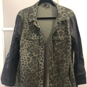 H&M Camo Leopard and Leather Jacket